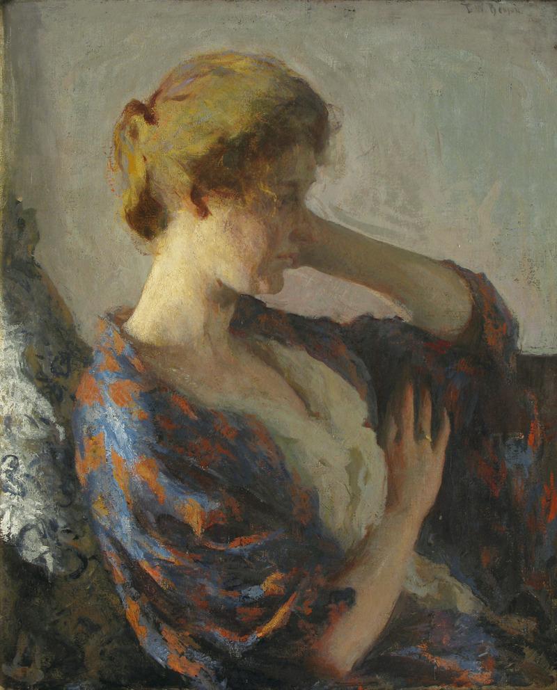 """Woman in a Blue Kimono, Frank Benson 1902 30x25"""""""