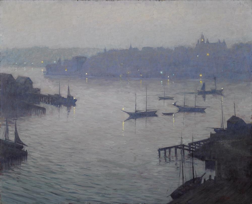"""Dusk over Gloucester Harbor, George William Sotter 26.25x32"""""""