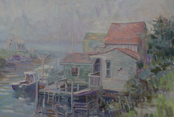 Docks in Fog 20×24″