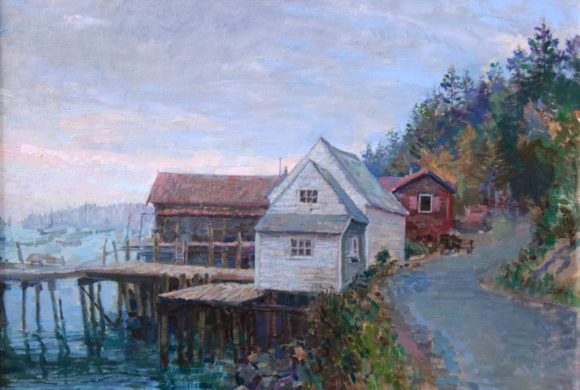 Fishing Shacks at Dusk 22×28″