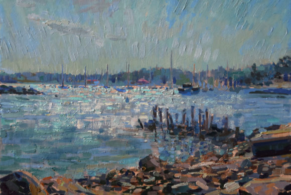 Glare on Little Harbor (Piscataqua) 12×16″