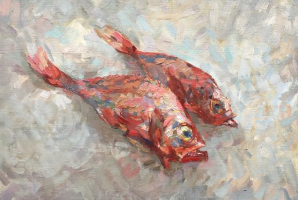 Red Snappers on Ice 16×20″